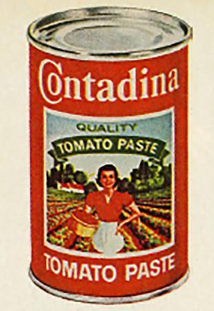 Original Contadina can with 'contadina' depiction